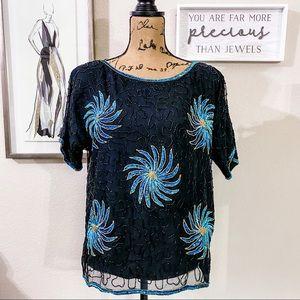 Vintage sequin beaded fireworks blouse